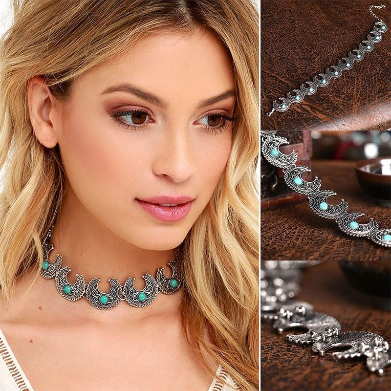 New Goth Jewelry Boho Bead Choker Necklace Turquoise Beads Choker Brand New UK