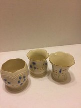 Lenox Votive Candle Holders Blue Flowers Set Of 3 Fine China 24Kt Trim - $14.01