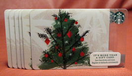 Lot of 6 Starbucks 2015 Silver Lights Christmas Tree Gift Cards New with Tags - $9.52