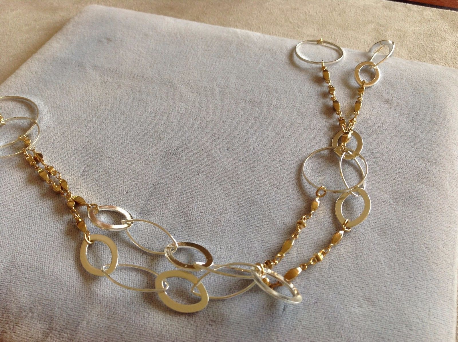 New Allure Gold Toned Chain with Silver Strung Circles and Ovals