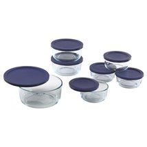 Pyrex 6022369 Storage 14Piece Round Set Clear with Blue Lids 14 Piece Ki... - £27.01 GBP
