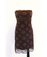 BCBG MAXAZRIA  Size 0 Elegant Brown Shimmer Lace Party Cocktail Dress Mi... - $32.99