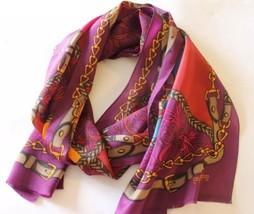 Oscar de la Renta Studio Women Scarf Violet Equestrian Chain 100% Silk J... - £32.71 GBP