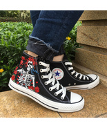 Converse All Star Grateful Dead Skull Roses Custom Hand Painted Canvas S... - $155.00