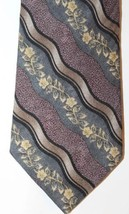 Bill Blass Men Neck Tie Floral Violet Blue Gray Striped 100% Silk Made I... - $23.36