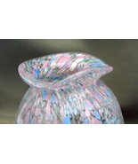 Hand Blown Art Glass Green Speckled White Hat Bowl  signed - $17.99