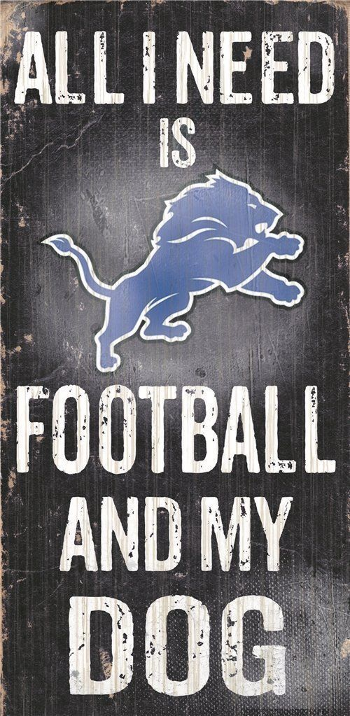 "DETROIT LIONS FOOTBALL & my DOG WOOD SIGN & ROPE 12"" X 6""  NFL MAN CAVE!"
