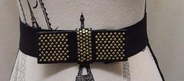 Women Belt Black Antique Gold Studs Bow Ribbon Elastic Wide S/M Bejewelled - €15,56 EUR