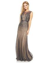 Adrianna Papell New Gunmetal Sleeveless Beaded Illusion Gown Petites  4P    $299 - $239.00
