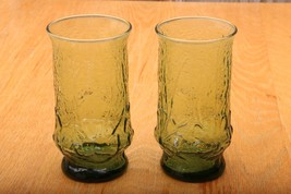 2 Vintage Green Crackle Glass Footed Drinking G... - $23.36
