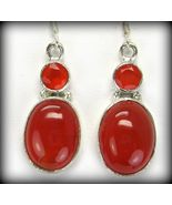 Oval Cabochon + Faceted Circle of Carnelian Sterling Silver Dangle Earri... - $107.00