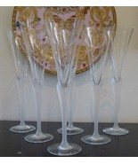 "RARE MIKASA CRYSTAL ""PRISMA"" CLEAR FROST STEM CHAMPAGNE GLASSES 10.5"" H ... - $225.00"