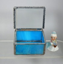 RING BEARER BOX. IRIDESCENT ROYAL BLUE STAINED GLASS & A CLEAR BEVELED G... - $24.64