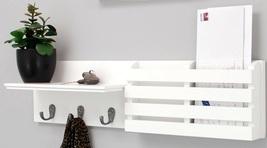 Wooden Coat Rack Wall Mount Hat Shelf Key Mail Holder Organizer Storage ... - $54.99