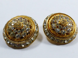 Gold Tone Brilliant Clera Color Crystal Dome Clip On Earrings - $19.80