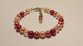 Pink Glass Pearl Bracelet with Swarovski Elements - $14.99