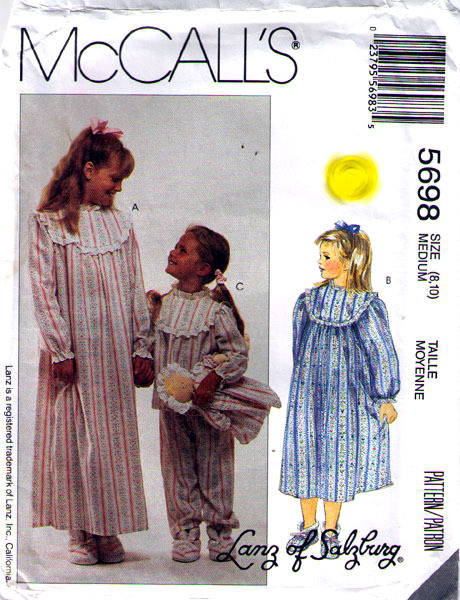 1991 NIGHTGOWN, PAJAMAS, BOOTIES, DOLL Pattern 5698-m Child Sizes 8-10 - UNCUT