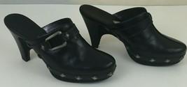 Cole Haan Womens Black Leather Studded Clogs 3.5'' Heel Slip On 6B Brazil - $23.33