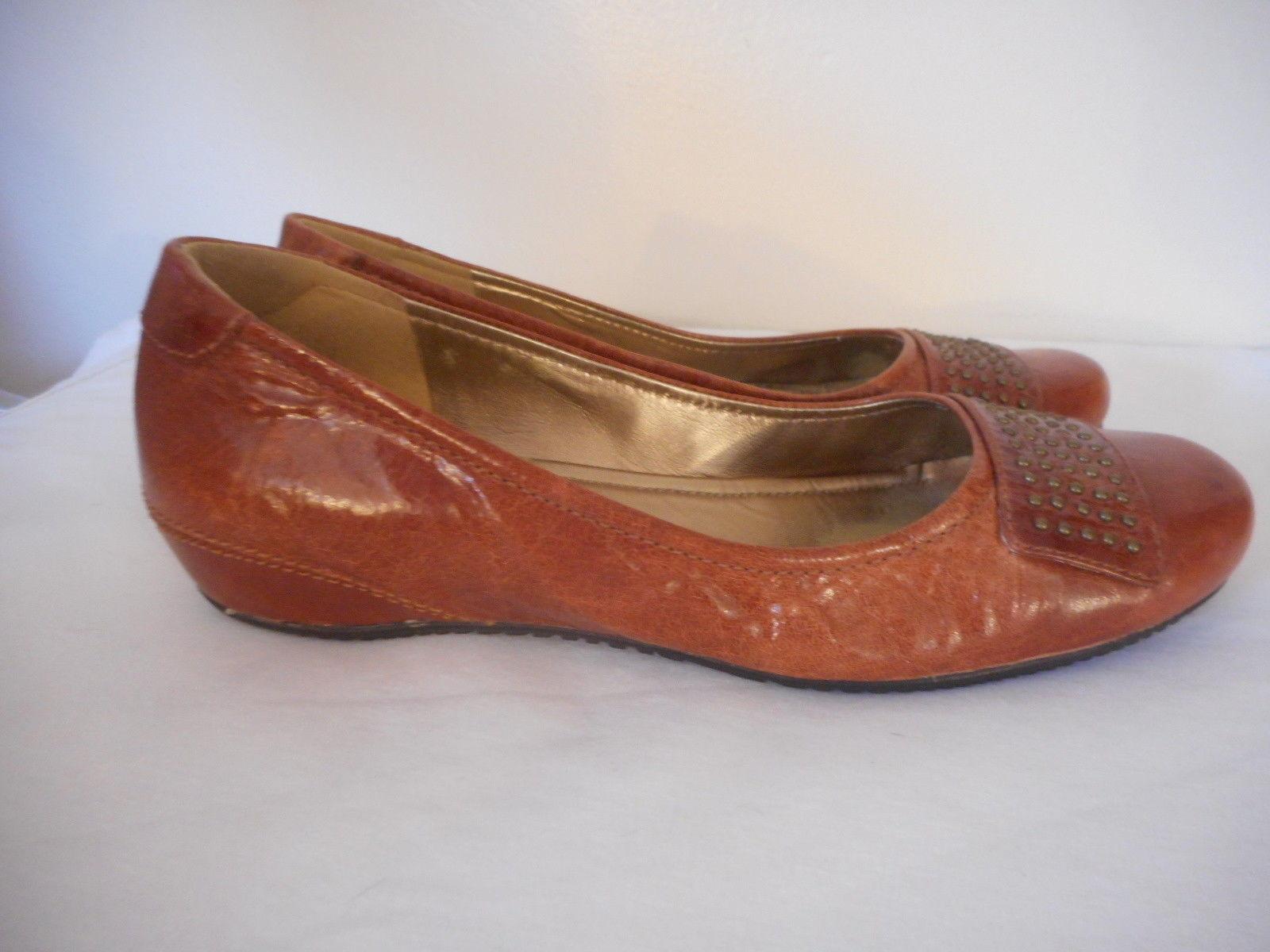 ecco Womens Leather flat Shoe 8 - 8.5  EU 39 casual Bouillion cognac