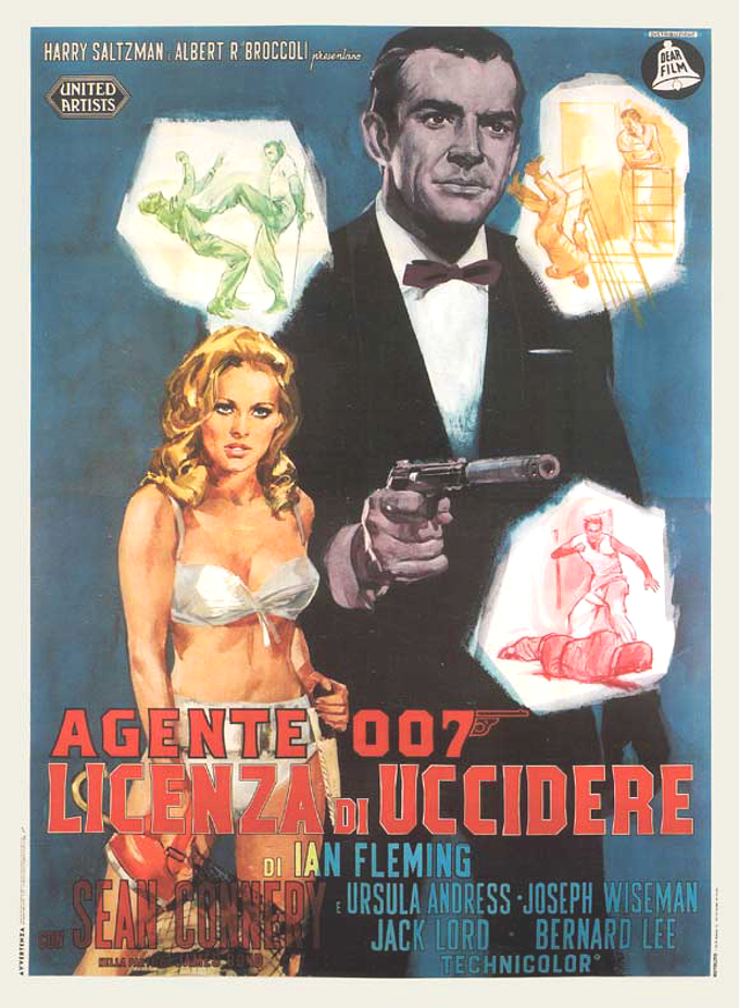 Dr. No Movie Poster 27x40 Italian James Bond Honey Ryder 007 Spy RARE OOP