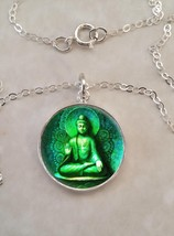 Sterling Silver 925 Pendant Necklace Green Buddha Meditation Nirvana - £23.18 GBP+