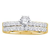 14k Yellow Gold Round Diamond Bridal Wedding Engagement Ring Band Set 1.00 Ctw - $1,999.00