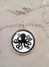 Sterling Silver 925 Pendant Necklace Octopus Silhouette Spy Secret Agent - $30.50+