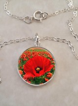 Sterling Silver 925 Pendant Necklace Field Of Poppy Red Flowers - £23.18 GBP+
