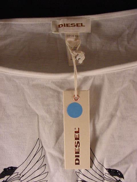 Diesel TRETRI T-Shirt Long Sleeve Wide Boat Neck Graphics/Studs Womens Sz XL New