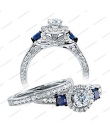 Engagement Bridal Ring, Three Stone Cz Ring Set, Wedding Ring Set, Cz Ring Set - $70.66