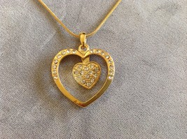 New Allure Gold Toned Necklace With Heart Shaped Pendant Decorated With Gemstone image 2