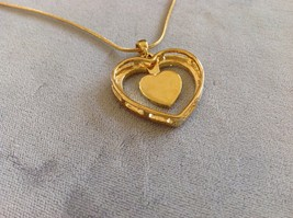 New Allure Gold Toned Necklace With Heart Shaped Pendant Decorated With Gemstone image 4