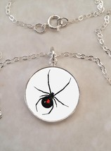Sterling Silver 925 Pendant Necklace Black Widow Spider Poison Dangerous - £23.18 GBP+