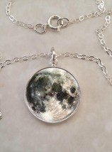 Sterling Silver 925 Pendant Necklace Planet Earth's Moon Luna Astromony - £23.18 GBP+