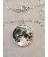 Sterling Silver 925 Pendant Necklace Planet Earth's Moon Luna Astromony - $30.20+