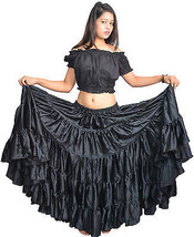 Gypsy Tribal Clothing UK Polyester Flamenco Black Skirts - $28.94