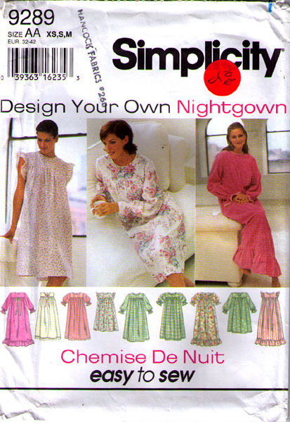 1994 NIGHTGOWN Pattern 9289-s Sizes XS-S-M - UNCUT