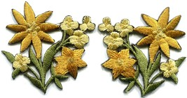 Gold golden lilies pair flowers floral bouquet boho applique iron-on pat... - $4.09 CAD