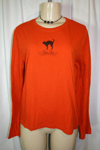 Target TRICK OR TREAT Black Cat Print Orange Long Sleeve Tshirt Top Hall... - $7.59