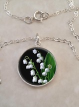 Sterling Silver 925 Pendant Necklace Lily Of The Valley Poisonous White ... - £23.18 GBP+