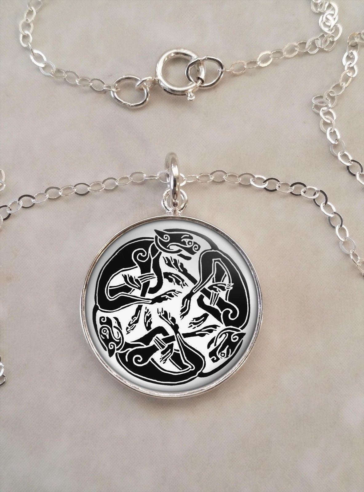 Sterling Silver 925 Pendant Necklace Celtic Cat Art Feline Animal - $30.50 - $50.50