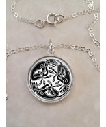 Sterling Silver 925 Pendant Necklace Celtic Cat Art Feline Animal - $30.20 - $50.00