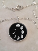 Sterling Silver 925 Pendant Necklace Cycles Of the Moon Phases Waxing Wa... - $30.50+