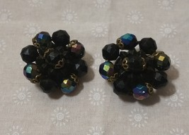 Vintage Western Germany Black Carnival Glass And Plastic Clip On Earring... - $15.99