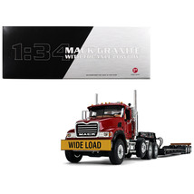 Mack Granite with Tri Axle Lowboy Trailer Cherry Red 1/34 Diecast Model by First - $189.32