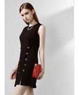 Vintage Autumn Spring Formal Office Dress Sleeveless Party Black White ... - $106.95