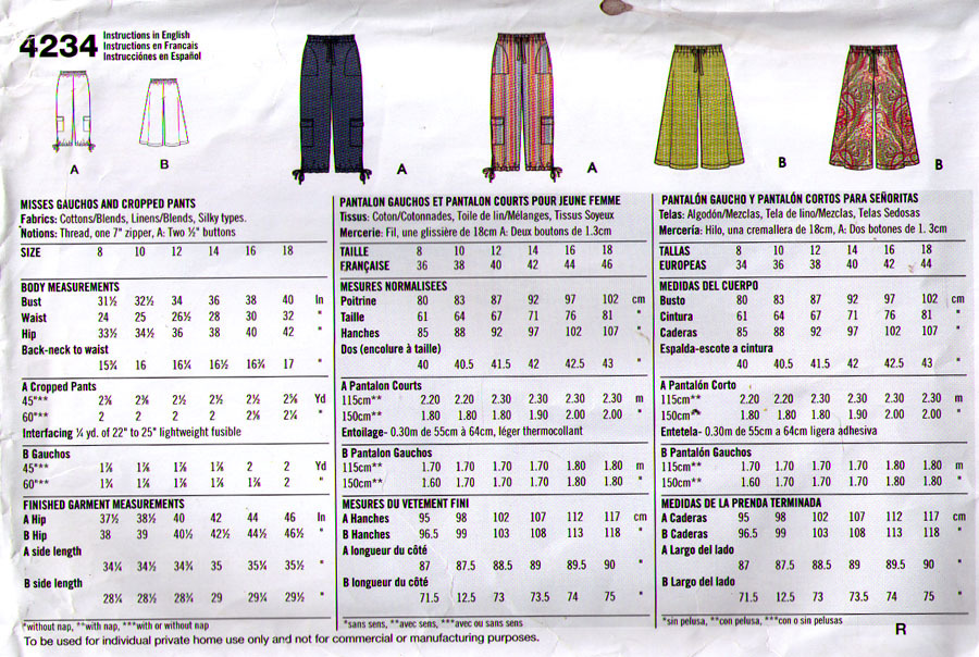 2006 GOUCHOS & CROPPED PANTS Pattern 4234-s Sizes 8-18 - UNCUT