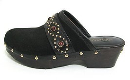 Michael Kors Studded Black Suede Leather Mules ... - $39.55