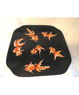 Oriental Asian Koi Plate Black 9.25 iches Signed - $69.99