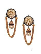 Lattest Kundan Earrings Bali Jhumka Jhumki Tops Jewelry Set Multi Beauti... - $29.69